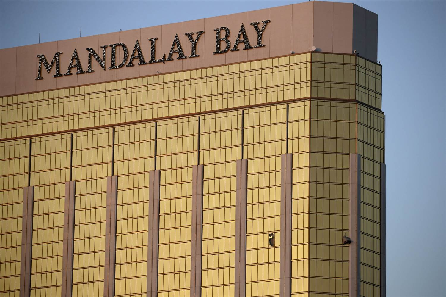The windows broken by Stephen Paddock at Mandalay Bay