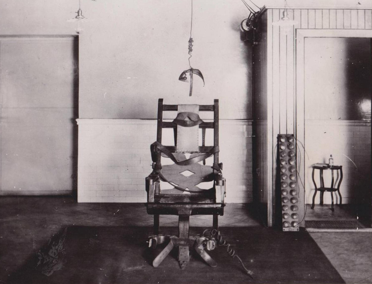 The original and first electric chair that was used to execute a prisoner on August 6, 1890 in Auburn, NY. The chair was destroyed in a prison riot and fire on July 28, 1929 (StuffNobodyCaresAbout.com)