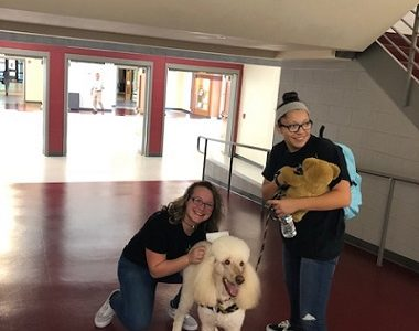 Maddie, the therapy dog, visits NHS