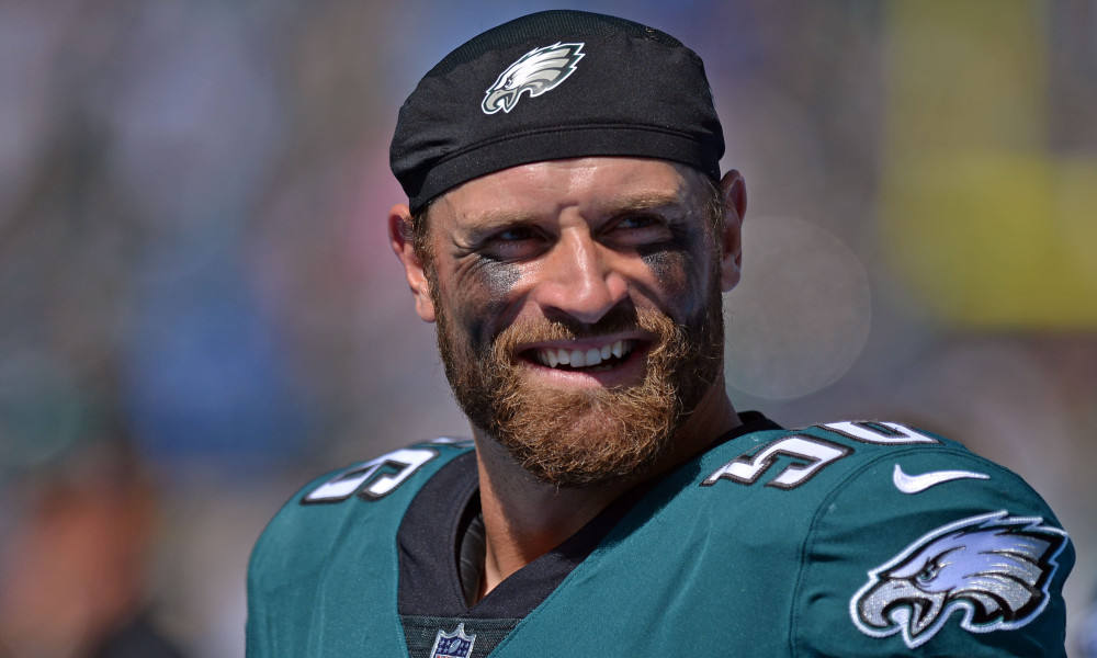 Oct 1, 2017; Carson, CA, USA; Philadelphia Eagles defensive end Chris Long (56) smiles before the game against the Los Angeles Chargers at StubHub Center. Mandatory Credit: Jake Roth-USA TODAY Sports